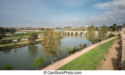 Merida Roman Bridge from Alcazaba, Time Lapse - Wide view of...