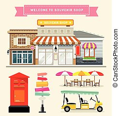 Vector Souvenir shop with guidepost, mail box, umbrella and...
