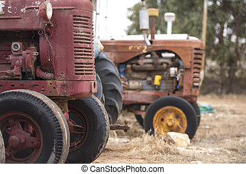 Old broken rusty farm tractor machinery - Collection of old...