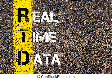Business Acronym RTD as REAL TIME DATA. Yellow paint line on...