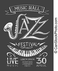 Poster Jazz Festival on the blackboard