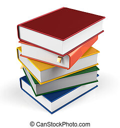 Book stack of textbooks hard covers colorful  books blank