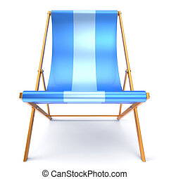 Beach chair chaise longue blue relaxation outdoor concept -...