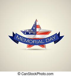 Memorial Day with star in national flag colors vector...