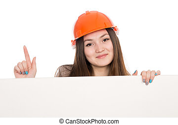 Girl builder in helmet showing thumbs up with blank banner....