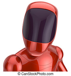 Robot cyborg dummy red futuristic bot spaceman concept 3d...