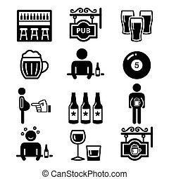 Pub, drinking alcohol, beer belly - Vector icons set of pub...