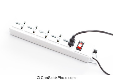 Multi plug electrical power strip isolated on a white...