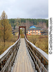 Suspension bridge across the Volga River