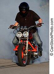 Motorbike Smoking Tire - Motorbike rider on custom bike...