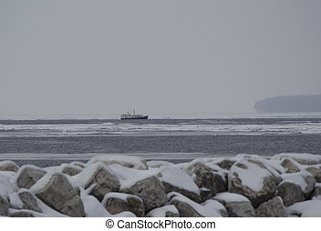 Boat by Washington Island Door County in Winter - Boat by...