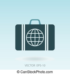 Vector illustration of global travel concept with suitcase...
