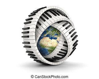 Globe and Piano keys