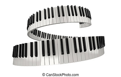 Piano keys clipping path included - Digital piano keyboard...