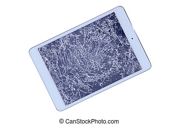 Tablet with a shattered screen - Tablet with a shattered...