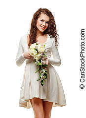 Young happy bride in white short dress with a bouquet of...