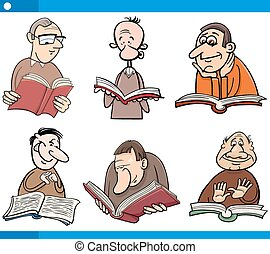 readers characters set cartoon - Cartoon Illustration Set of...