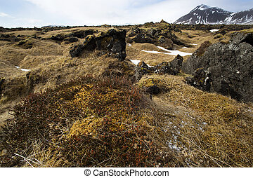 Impressive volcanic landscape on the Snaefellsnes peninsula...