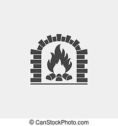 Brick oven vector icon Firewood oven black silhouette