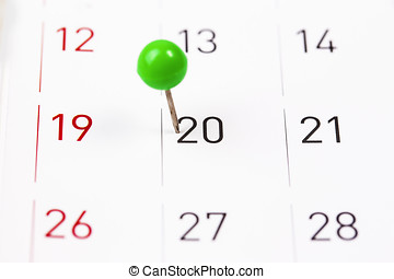 Mark on the calendar at 20.