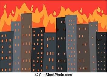 city in flames - Image of a cityscape with towering flames...