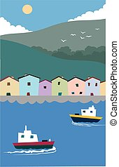 harbour front - A quaint little harbour with boats and...
