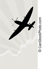 Silhouette spitfire - Spitfire aircraft against a cloud and...
