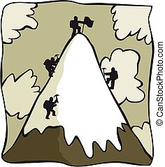 Cartoon mountaineers - A group of mountaineers reach the...