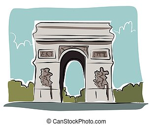 Sketchy arc de triomphe - A sketchy image of the arc de...