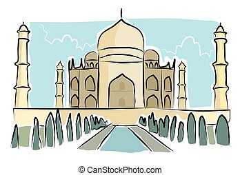 Sketchy taj mahal - A sketchy image of the taj mahal in...