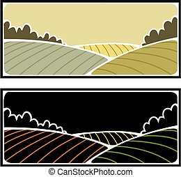 Farmland - Two variations of a farmland scene with ploughed...