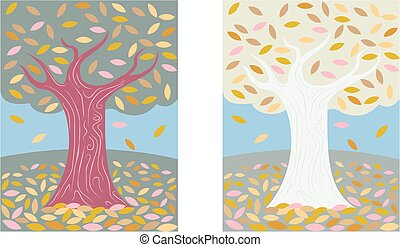 October tree - Two variations of an autumnal tree shedding...