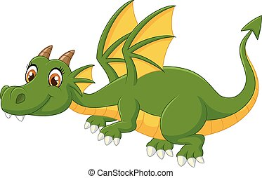 Cartoon green dragon flying - Vector illustration of Cartoon...