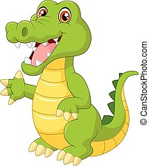 Cartoon crocodile waving hand