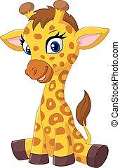 Cartoon baby giraffe sitting - Vector illustration of...