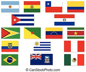 South American Flag Set - A set of Flags of the countries of...