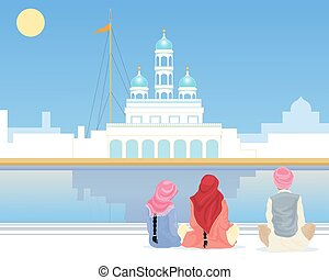 gurdwara prayer - a vector illustration in eps 10 format of...