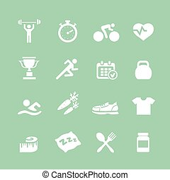 Health and Fitness white  vector set icons with a stopwatch bodybuilder weights dumbbells heart pulse trainer shoes bottled water