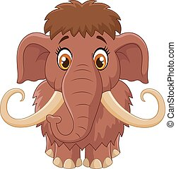 Cartoon cute mammoth - Vector illustration of Cartoon cute...
