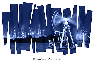 Oil industry abstract background. - Oil pump and refinery...
