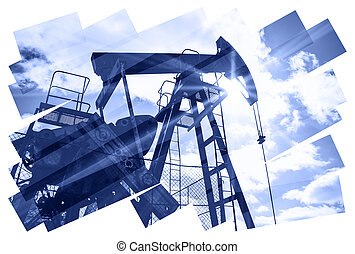 Pump jack abstract composition background. - Oil industry...