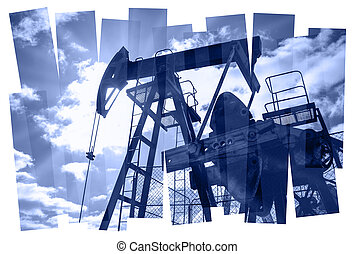 Pump jack abstract composition background. - Oil pump...