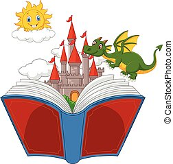 Story book with cartoon castle, dra - Vector illustration of...