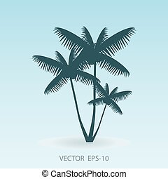 Coconut palm tree silhouette, Vector