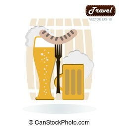 Grilled sausage on a fork, mug of beer with foam head in his han
