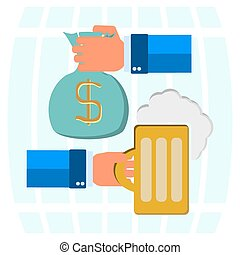 money bag for beer, mug of beer with foam head in his hand on a