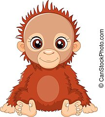 Cartoon baby orangutan sitting - Vector illustration of...