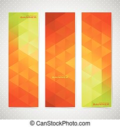 Colorful Vertical Set Of Banners Mosaic Backgrounds. Modern Vector Illustration