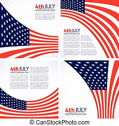 Set of Stylish American Independence day design.