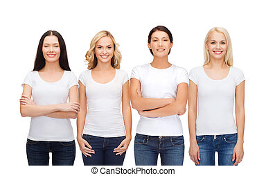 group of smiling women in blank white t-shirts